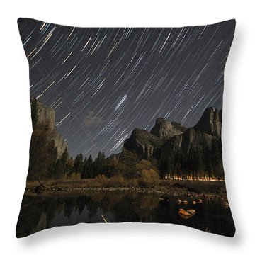 Star Trails Over Yosemite Throw Pillow