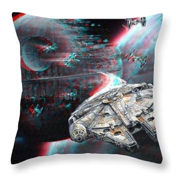 Star Wars 3d Millennium Falcon Throw Pillow by Paul Van Scott