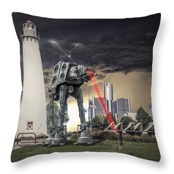Throw Pillow featuring the photograph Star Wars All Terrain Armored Transport by Nicholas  Grunas