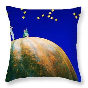 Throw Pillow featuring the photograph Star Watching On Pumpkin Food Physics by Paul Ge