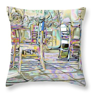 Throw Pillow featuring the digital art Starbucks After Hours by Mark Greenberg