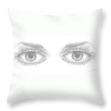 Throw Pillow featuring the drawing Stare by Terry Frederick