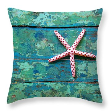 Seashore Peeling Paint - Starfish And Turquoise Throw Pillow by Rebecca Korpita