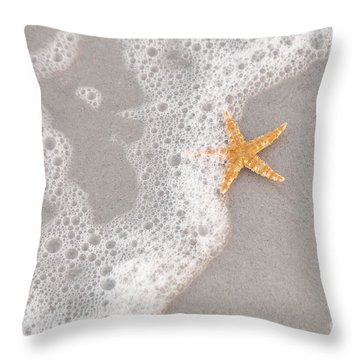 Starfish In The Surf Throw Pillow by Diane Macdonald