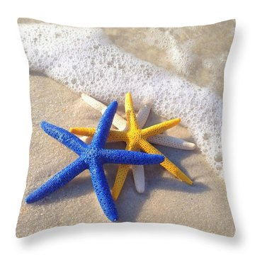 Throw Pillow featuring the photograph Starfish In The Surf by Elizabeth Budd
