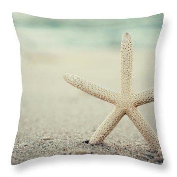 Starfish On Beach Vintage Seaside New Jersey  Throw Pillow