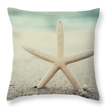 Starfish On Beach Vintage Seaside New Jersey  Throw Pillow by Terry DeLuco
