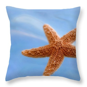 Starfish On Blue Water Throw Pillow