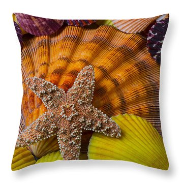 Starfish With Seashells Throw Pillow by Garry Gay