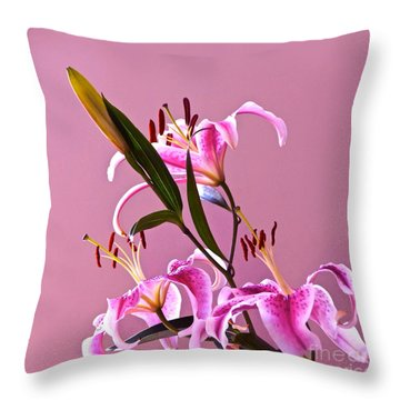 Stargazer Lilies Square Frame Throw Pillow