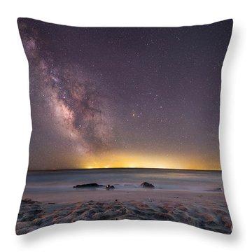 Stargazing On The Beach  Throw Pillow