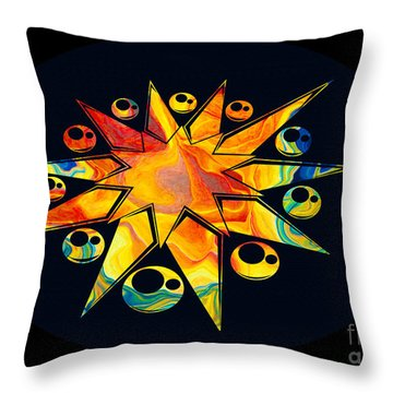 Throw Pillow featuring the painting Staring Into Eternity Abstract Stars And Circles by Omaste Witkowski