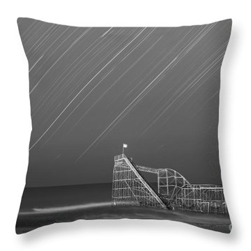 Starjet Roller Coaster Startrails Bw Throw Pillow by Michael Ver Sprill