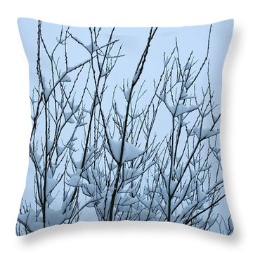 Throw Pillow featuring the photograph Stark Beauty - Snow On Branches by Denise Beverly