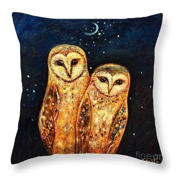 Starlight Owls Throw Pillow by Shijun Munns
