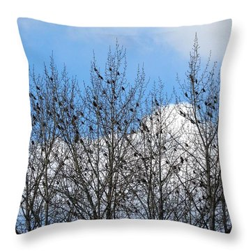 Starlings In The Cottonwoods Throw Pillow by Will Borden