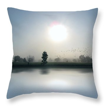 Starlings Misty Morning Throw Pillow by Cedric Hampton