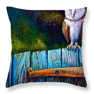 Starry Barn Owl Throw Pillow by Sebastian Pierre