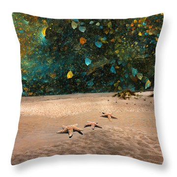 Starry Beach Night Throw Pillow by Betsy Knapp
