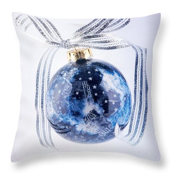 Christmas Ornament With Stars Throw Pillow by Vizual Studio