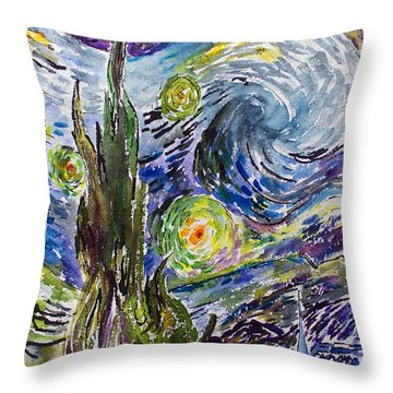 Throw Pillow featuring the painting Starry Night After Vincent Van Gogh by Ginette Callaway