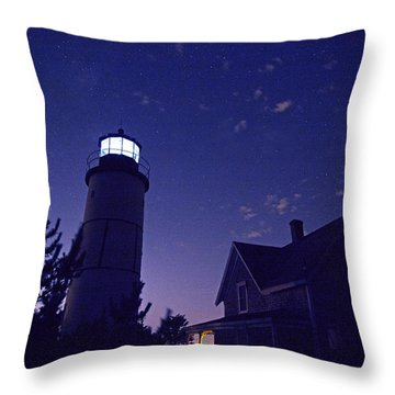 Starry Night At Sandy Neck Lighthouse Throw Pillow by Charles Harden