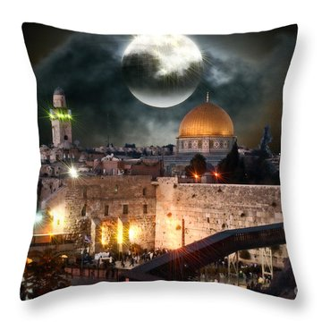 Starry Night At The Dome Of The Rock Throw Pillow by Doc Braham