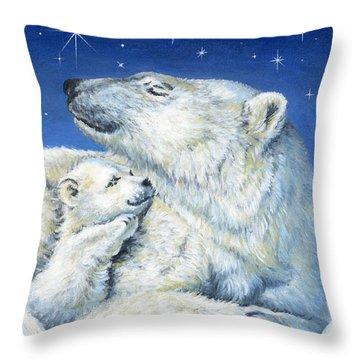 Starry Night Bears Throw Pillow by Richard De Wolfe