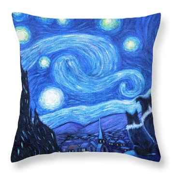 Starry Night Border Collies Throw Pillow