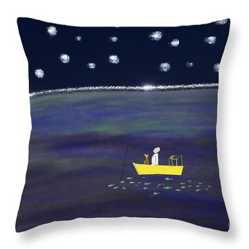 Throw Pillow featuring the digital art Starry Night Fishing by Haleh Mahbod