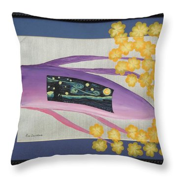 Throw Pillow featuring the painting Starry Night Flower by Ron Davidson