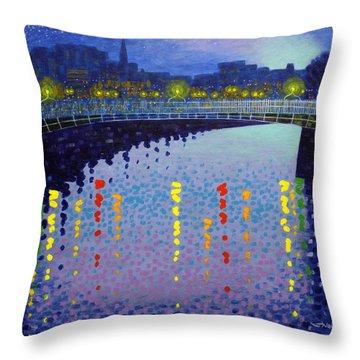 Starry Night In Dublin Half Penny Bridge Throw Pillow by John  Nolan