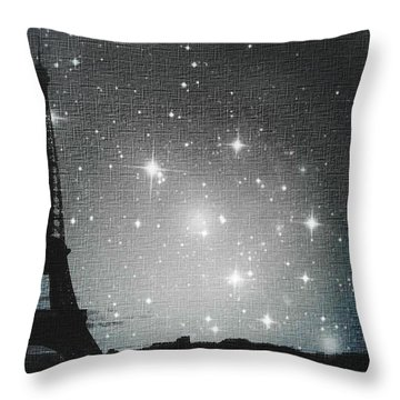 Starry Night In Paris - Eiffel Tower Photography  Throw Pillow