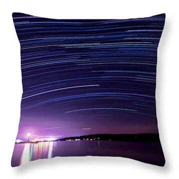 Starry Night On Cayuga Lake Throw Pillow by Paul Ge
