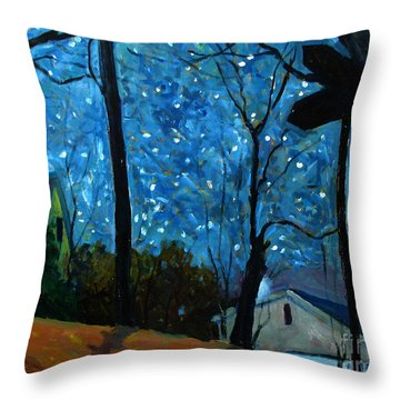 Starry Night On Gimball Street Throw Pillow by Charlie Spear