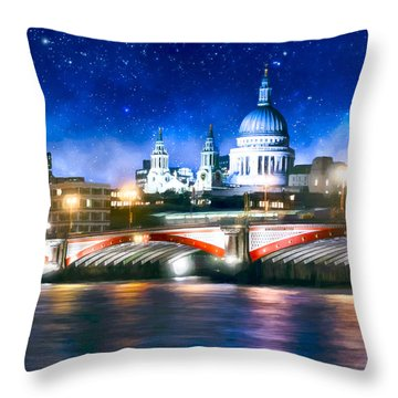 Throw Pillow featuring the photograph Starry Night Over The Thames by Mark E Tisdale