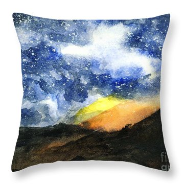 Starry Night With Fire In Santa Monica Mountains Throw Pillow