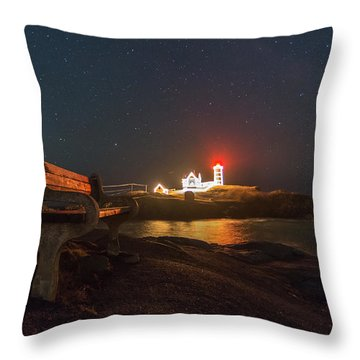 Starry Skies Over Nubble Lighthouse  Throw Pillow