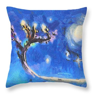 Starry Tree Throw Pillow by Pixel  Chimp