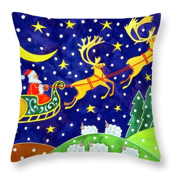Stars And Snowfall Throw Pillow by Cathy Baxter