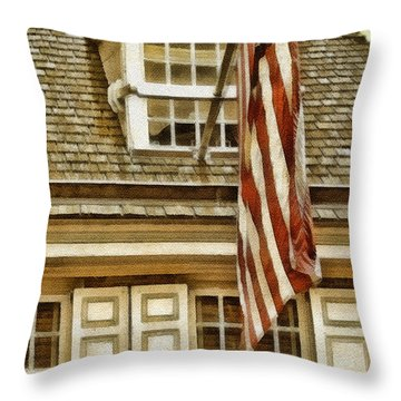 Stars And Stripes Throw Pillow by Mo T