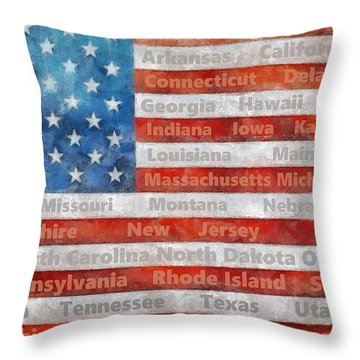 Stars And Stripes With States Throw Pillow