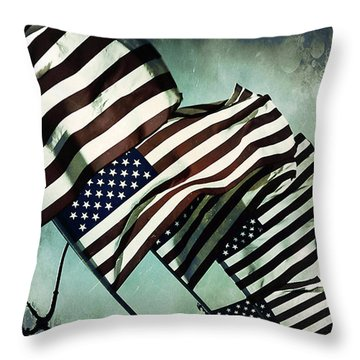 Stars N  Stripes Throw Pillow by Trish Mistric