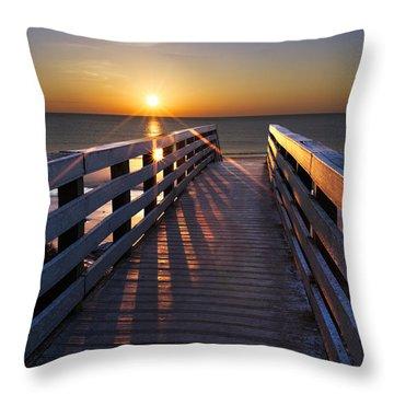 Stars On The Boardwalk Throw Pillow by Debra and Dave Vanderlaan