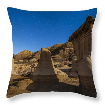 Stars Over The Hoodoos In The Red Deer Throw Pillow