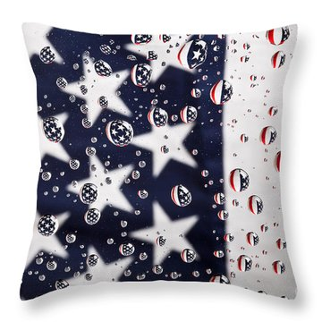 Stars Stripes And Water Drops Throw Pillow by Sharon Dominick