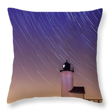 Throw Pillow featuring the photograph Stars Trailing Over Lighthouse by Jeff Folger