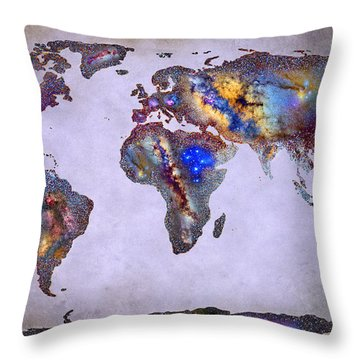 Stars World Map Space Throw Pillow