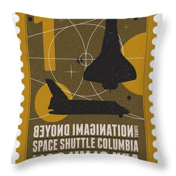 Starschips 01-poststamp - Spaceshuttle Throw Pillow by Chungkong Art