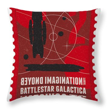 Starschips 02-poststamp - Battlestar Galactica Throw Pillow